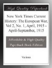 New York Times Current History: The European War, Vol 2, No. 1, April, 1915