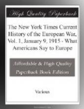 The New York Times Current History of the European War, Vol. 1, January 9, 1915